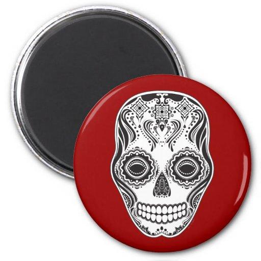 Cráneo del chica de Dia de los Muertos That Imán Redondo 5 Cm