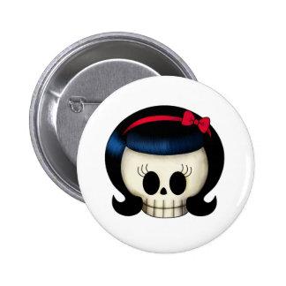 Cráneo del chica del Rockabilly Pin Redondo De 2 Pulgadas