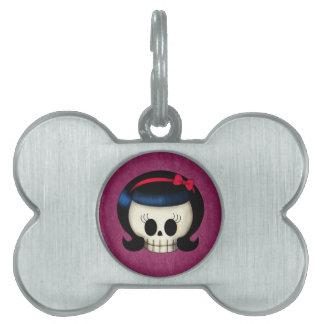Cráneo del chica del Rockabilly Placa De Nombre De Mascota