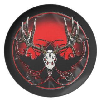 Cráneo del ciervo mula del trofeo plato