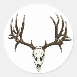 Cráneo del ciervo mula pegatina redonda