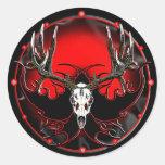 Cráneo del ciervo mula pegatinas redondas