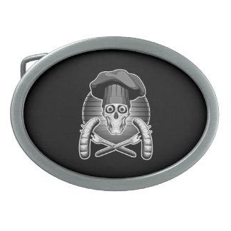 Cráneo del cocinero: Asado a la parilla Hebilla De Cinturon Oval