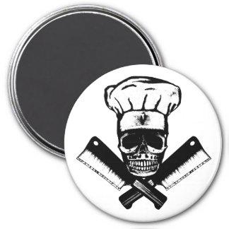 Cráneo del cocinero (B&W) Imán Redondo 7 Cm