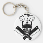 Cráneo del cocinero (B&W) Llavero Personalizado