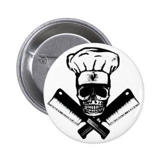 Cráneo del cocinero (B&W) Pin Redondo De 2 Pulgadas