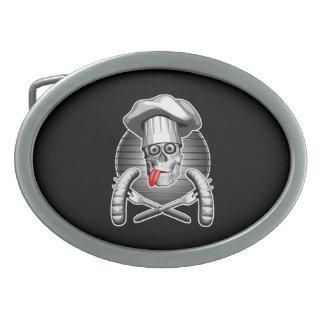 Cráneo del cocinero: Comida campestre Hebilla Cinturón Oval