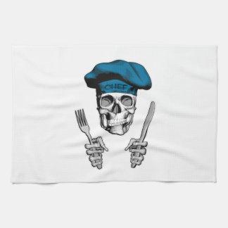 Cráneo del cocinero: Cuchillo y bifurcación Toallas