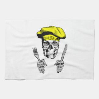 Cráneo del cocinero: Cuchillo y bifurcación Toalla
