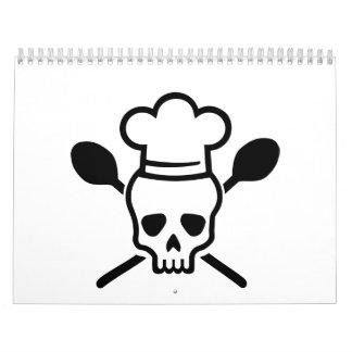 Cráneo del cocinero del cocinero calendario de pared