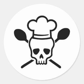 Cráneo del cocinero del cocinero pegatina redonda