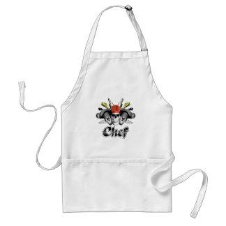 Cráneo del cocinero y utensilios de cocinar delantal
