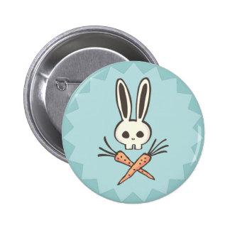 Cráneo del conejito del dibujo animado y botón de pin redondo de 2 pulgadas