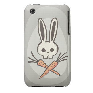 Cráneo del conejito del dibujo animado y caso de iPhone 3 fundas