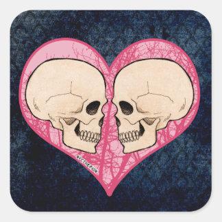 Cráneo del corazón de la tarjeta del día de San Pegatina Cuadrada
