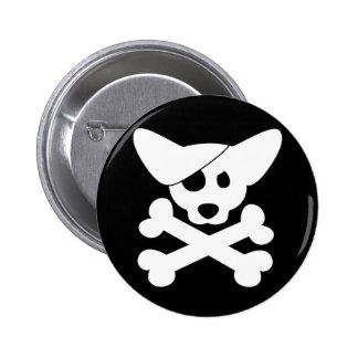 Cráneo del Corgi y botón de la bandera pirata Pin Redondo De 2 Pulgadas