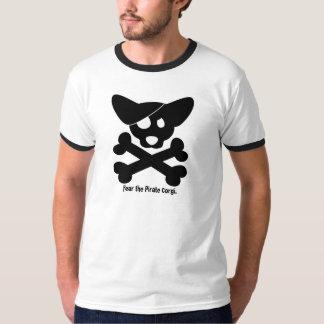 Cráneo del Corgi y camiseta de la bandera pirata Playeras