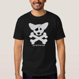 Cráneo del Corgi y camiseta de la bandera pirata Poleras