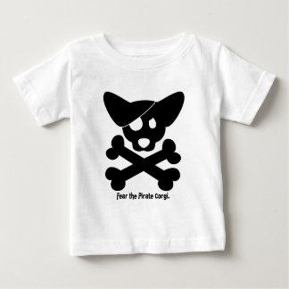 Cráneo del Corgi y camiseta del bebé de la bandera Playera Para Bebé