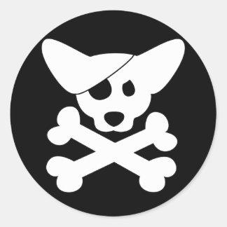 Cráneo del Corgi y pegatinas de la bandera pirata Pegatina Redonda