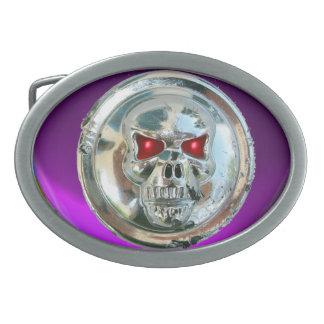 CRÁNEO del CROMO/amatista púrpura Hebilla Cinturon Oval