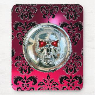 CRÁNEO del CROMO, rubí rosado del damasco Mouse Pads