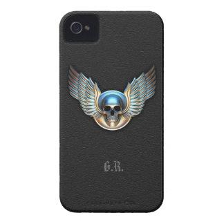 Cráneo del cromo y caja intrépida de Blackberry de Case-Mate iPhone 4 Carcasa