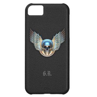 Cráneo del cromo y caso del iPhone 5 de las alas Funda Para iPhone 5C