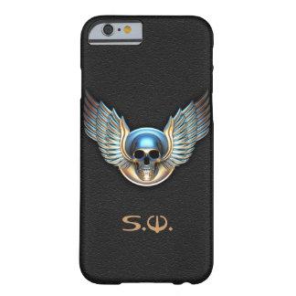 Cráneo del cromo y caso del iPhone 6 de las alas Funda Para iPhone 6 Barely There