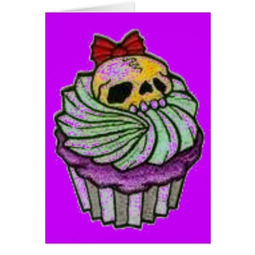 cráneo del cuppycake tarjeta
