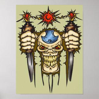Cráneo del Cyborg con las dagas Póster
