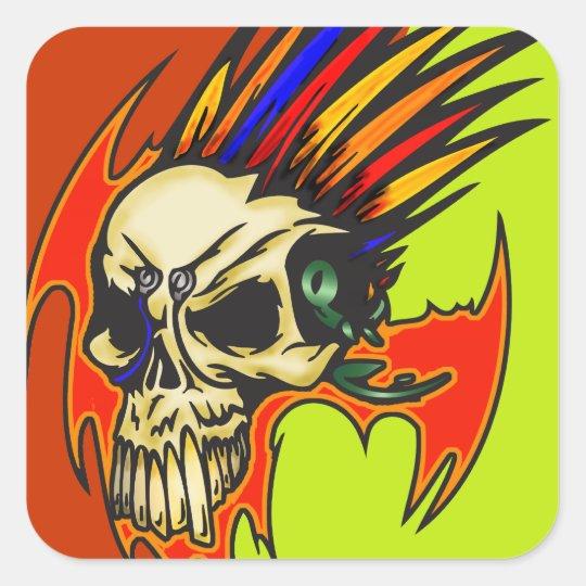 Cráneo del Cyborg con las plumas Pegatina Cuadrada