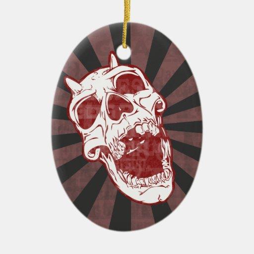 Cráneo del demonio adorno navideño ovalado de cerámica