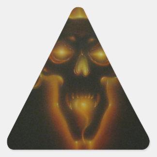 Cráneo del demonio pegatina triangular