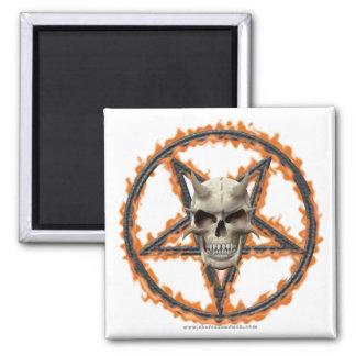 Cráneo del demonio y Pentagram ardiente Iman