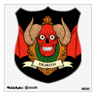 Cráneo del diablo del demonio con las alas del pal