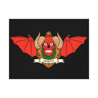 Cráneo del diablo del demonio con las alas del pal lona estirada galerías