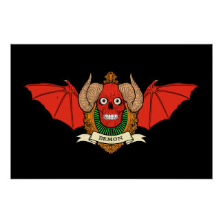 Cráneo del diablo del demonio con las alas del pal poster