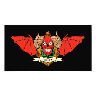 Cráneo del diablo del demonio con las alas del pal arte con fotos