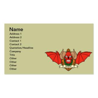 Cráneo del diablo del demonio con las alas del tarjetas de visita