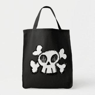 Cráneo del dibujo animado bolsa de mano