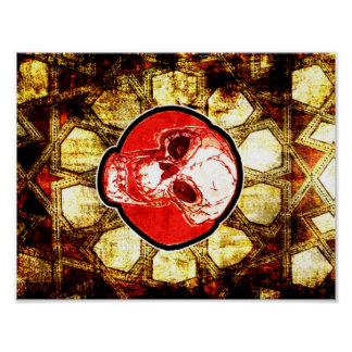 cráneo del dibujo animado y teja turca tradicional póster