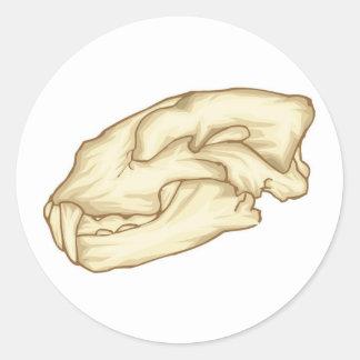 Cráneo del diente del sable pegatina redonda
