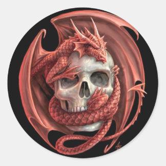 Cráneo del dragón pegatina redonda