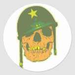 Cráneo del ejército pegatina redonda