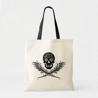 Cráneo del escritor y canillas de la bandera pirat bolsas de mano