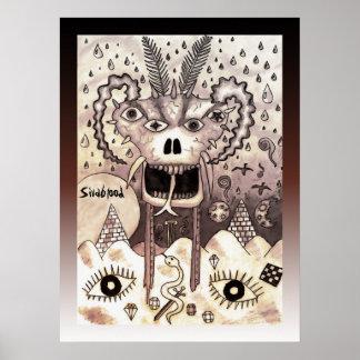 Cráneo del espolón de la roca del desierto póster