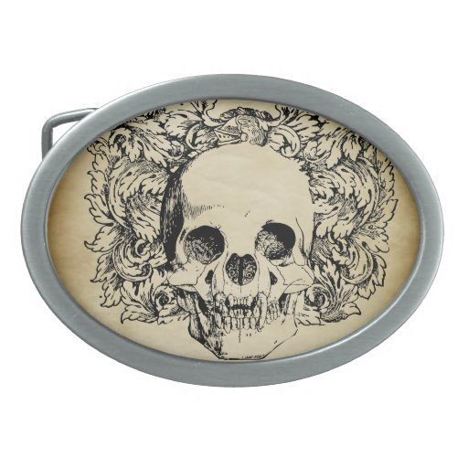 Cráneo del estilo del vintage hebilla cinturón