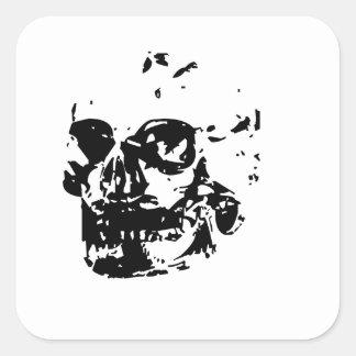 Cráneo del fantasma calcomania cuadrada personalizada