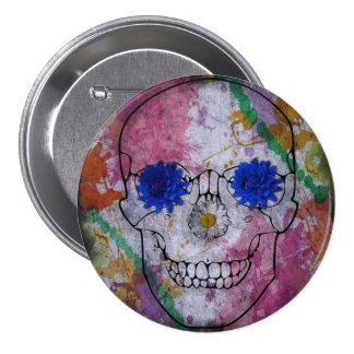 cráneo del flower power pin redondo de 3 pulgadas